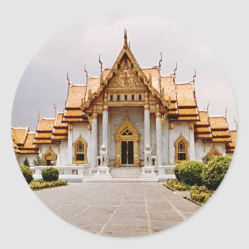 Marble Temple Of Gold Over Khmer Lion Sticker Tag by DigitalDreambuilder at Zazzle
