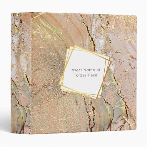 Marble texture gold geometric frame liquid ink 3 ring binder