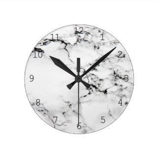 Marble texture round clock