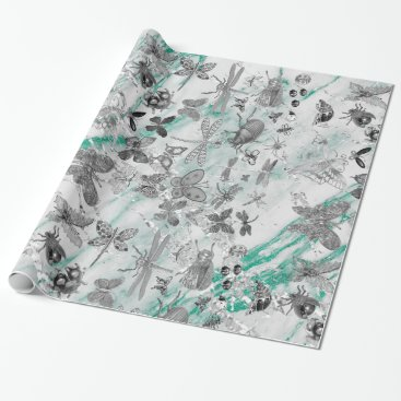 McTiffany Tiffany Aqua Marble Tiffany Gray Meadow Butterfly Insects Gems Wrapping Paper
