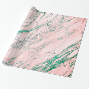 McTiffany Tiffany Aqua Marble Tiffany Silver Gray Pink Rose Stone Pastel Wrapping Paper