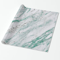 Marble Tiffany Silver Gray Teal Green Stone VIP Wrapping Paper