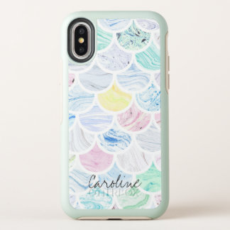 Marble Tile Rainbow Mermaid Scallop Pattern. OtterBox Symmetry iPhone X Case