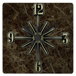 Marble Tile Sunburst Dial Wall Clock