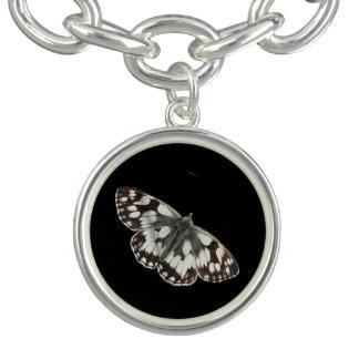 Marble white butterfly design charm bracelet