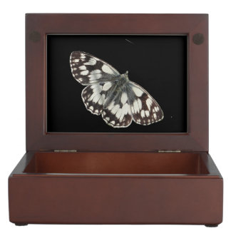 Marble white butterfly design jewelry box