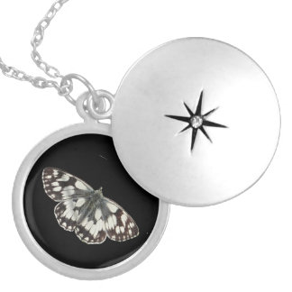 Marble white butterfly design lockets