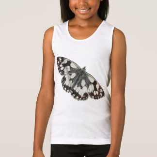 Marble white butterfly design tank top