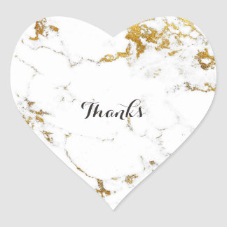 Marble White Carrara Stone Gold Simply Heart Heart Sticker