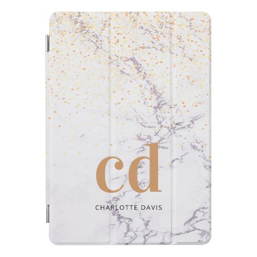 Marble white gold monogram initials modern  iPad pro cover