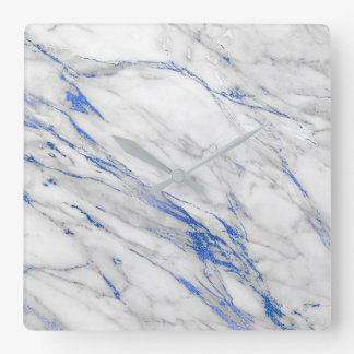 Marble White Gray Saphire Navy Blue Carrara Square Wall Clock