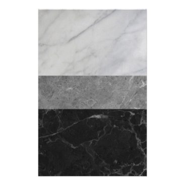 Marble - White, Grey, Black Stationery