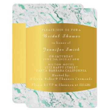 Beach Themed Marble White Mint Gold Bridal Shower Party Card