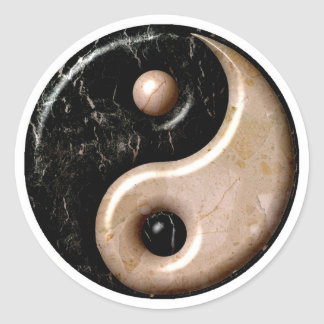 Marble Yin Yang Symbol Classic Round Sticker