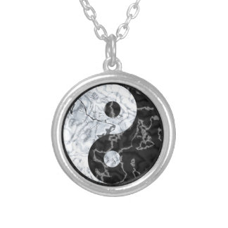 Marble Yin Yang Symbol Silver Plated Necklace