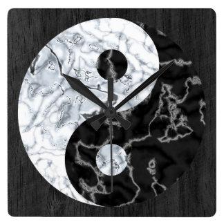 Marble Yin Yang Symbol Square Wall Clock