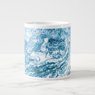Marbled Abstract Design | Blue and White Large Coffee Mug