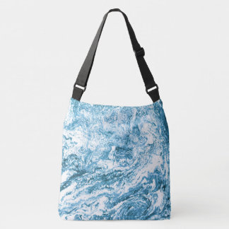 Marbled Abstract Design | Blue and White Tote Bag