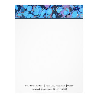 Marbled Abstract Design | Blue Navy Purple Letterhead