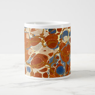 Marbled Abstract Design | Blue Red Creme Yellow Large Coffee Mug