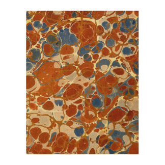 Marbled Abstract Design | Blue Red Creme Yellow Wood Wall Art