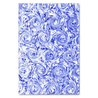 Marbled Abstract Design | Blue White Swirls Tissue Paper