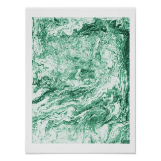 Marbled Abstract Design | Green White Poster