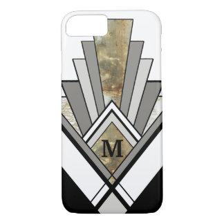 Marbled Art Deco Geometric with Custom Monogram iPhone 7 Case