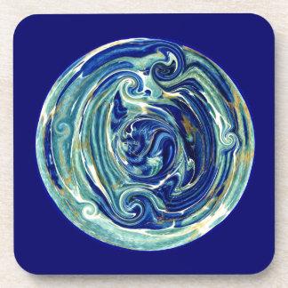 Marbled Batik Planet Earth Square Cork Coaster
