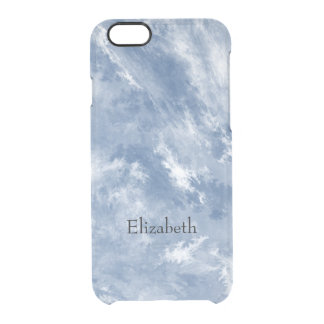 Marbled Blue White Abstract Clear iPhone 6/6S Case