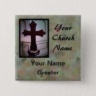 Marbled Church Greeter Nametags with Cross Pinback Button