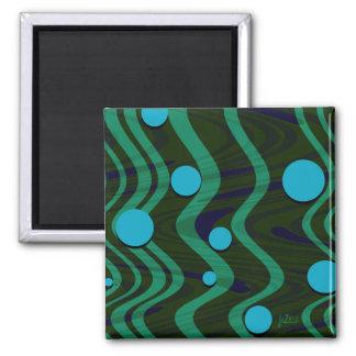 Marbled Dot Wave Blue Green Magnet