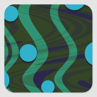 Marbled Dot Wave Blue Green Square Sticker