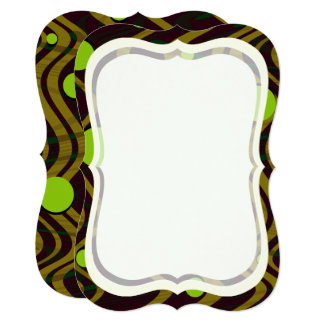 Marbled Dot Wave Gold Green Burn Out Blank Card