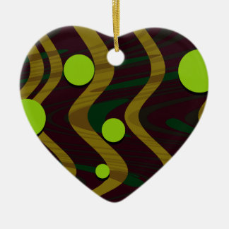 Marbled Dot Wave Green Gold Ceramic Ornament
