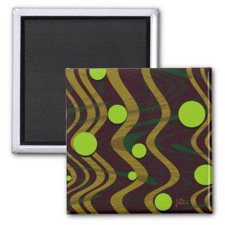 Marbled Dot Wave Green Gold Magnet