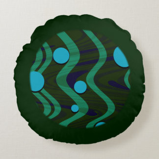 Marbled Dot Wave Green Gold Round Pillow