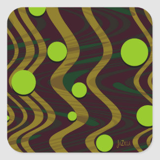 Marbled Dot Wave Green Gold Square Sticker