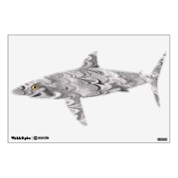 Beach Themed Marbled Flat Fish - Shark Wall Sticker