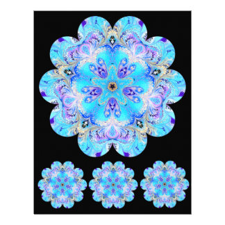 Marbled Flower Kaleidoscope Scrapbook Paper Letterhead