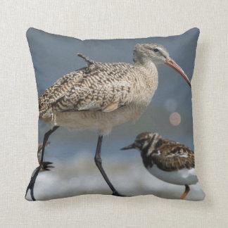 Marbled godwit (Limosa fedoa), Little St Simon's Throw Pillow