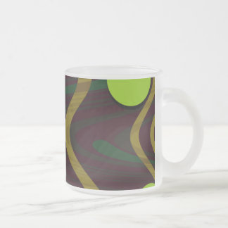 Marbled Gold Green Dot Wave Coffee Mugs