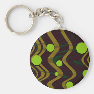 Marbled Gold Green Dot Wave Key Chain