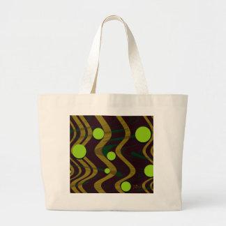 Marbled Gold Green Dot Wave Large Tote Bag