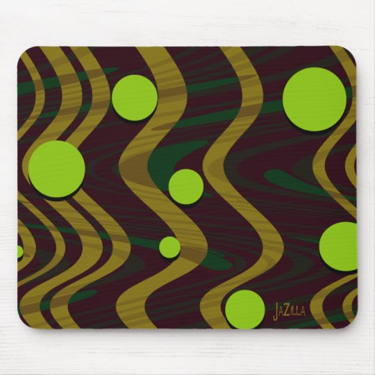 Marbled Gold Green Dot Wave Mouse Pad