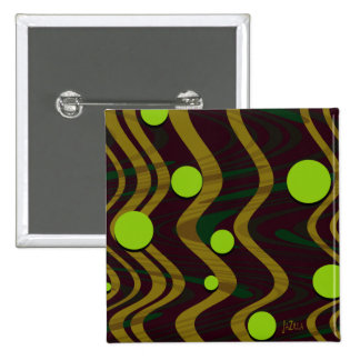 Marbled Gold Green Dot Wave Pinback Button