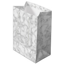 Marbled Gray White Marble Stone Pattern Background Medium Gift Bag