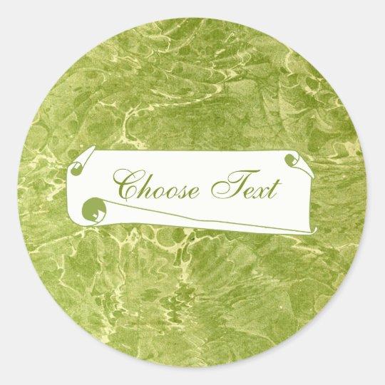 Marbled Green Classic Round Sticker