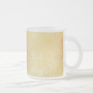 MARBLED GRUNGE RANDOM ABSTRACT SOLID CREAMY YELLOW FROSTED GLASS COFFEE MUG