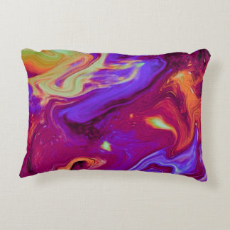 Marbled Maroon, Blue, Purple, Yellow Accent Pillow